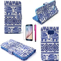 Note 4 Case, JCmax Elephant Pattern Top Grade PU Leather Wallet Cover [Build In Stand] Flip Magnetic Closure For Samsung Galaxy Note 4 (1 x screen protector 1 x stylus pen)-Blue-Elephant :: Iluv Bluetooth Speaker Review