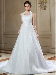 Wedding Dresses - $263.99 - A-Line/Princess Halter Chapel Train Organza Satin Wedding Dress With Lace Beading Sequins  http://www.dressfirst.com/A-Line-Princess-Halter-Chapel-Train-Organza-Satin-Wedding-Dress-With-Lace-Beading-Sequins-002000392-g392