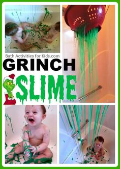 Grinch Slime Sensory Bath. A totally fun sensory experience from head to toe and the mess washes easily down the drain!