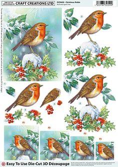 Christmas Robin die-cut découpage – DCD600
