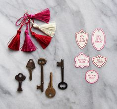 Easy Valentine's DIY with vintage keys and tassels