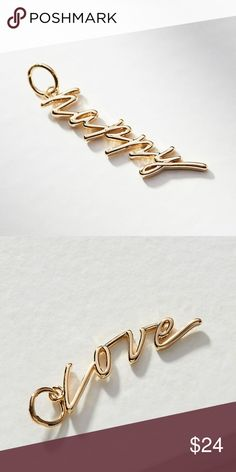 """Anthropologie Script Charm for Necklace & Bracelet Brand new with tag on note card. This listing is for the """"Happy"""" script. Anthropologie Jewelry Necklaces"""