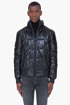 Alexander McQueen Black Quilted Leather Hoodie for men | SSENSE