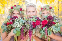 Maroon and red bouquets. Danielle and Jason's Outdoor Fall Wedding in Crested Butte, Colorado