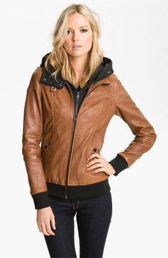 Soia & Kyo Leather Jacket with Removable Hoodie Liner available at #Nordstrom