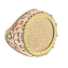 Rose Gold Jewelry for Men | 9ct Rose Gold Filigree Design Full Sovereign Ring - Mens Rings - Gold ...