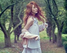 Actress Yoon Eun-hye's innocent and whimsical pictorial for spring is drawing attention. Yoon Eun-hye is wearing Vanessa Bruno and Vanessa Bruno collection in her pictorial with the fashion magazine Vogue, where she delivers her goddess-like presence. Yoon Eun Hye, Vanessa Bruno, Korean Actresses, Actors & Actresses, Korean Actors, Korean Dramas, Korean Girl, Asian Girl, Forest Fashion
