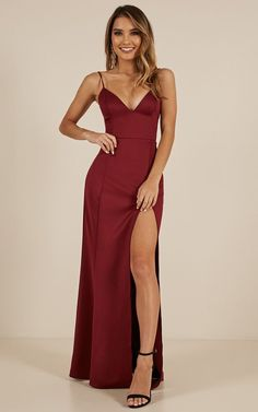 Dare To Dream Maxi Dress In Wine - woman in red , Year 10 Formal Dresses, Grad Dresses, Homecoming Dresses, Evening Dresses, Dresses Dresses, Prom Outfits, Dress Outfits, Fashion Dresses, Elegant Dresses