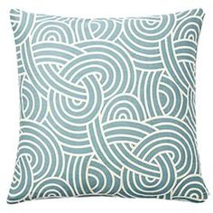 Throw pillow with a curving motif in blue.Product: PillowConstruction Material: Cotton cover and feather down fillColor: BlueFeatures:     Hidden zipperInsert includedMade in the USA Cleaning and Care: Dry clean only