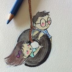 (vía Art & Illustration by Genevieve Santos: Salutations from the Philippines) Pencil Art Drawings, Art Drawings Sketches, Cartoon Drawings, Cartoon Art, Cute Couple Drawings, Love Drawings, Easy Drawings, Aquarell Tattoos, Arte Sketchbook