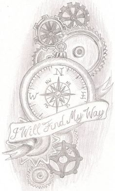 Steampunk art is often filled with clockwork elements, mostly depicted in yellow metals such as brass. Steampunk tattoos are very rare, and . - Tattoo For Women 1 Tattoo, Piercing Tattoo, Tattoo Drawings, Body Art Tattoos, Tattoo Quotes, Tattoo Thigh, Lost Tattoo, Compass Thigh Tattoo, Compass Tattoo Design