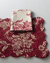 """-3TH7 """"Birkdale"""" Red Napkins & Place Mats"""