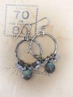 Moonstone labradorite hoop earrings