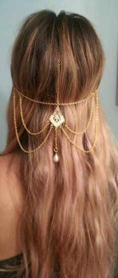 New hair accessories jewelry jewellery Ideas Jewelry Accessories, Fashion Accessories, Fashion Jewelry, Women Jewelry, Boho Hairstyles, Wedding Hairstyles, Blond, Flapper Headpiece, Hair Chains