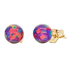 Elizabeth 6mm Created Royal Lavender Opal Ball Stud Post Earrings Solid 14k Yellow Gold >>> Click image for more details.