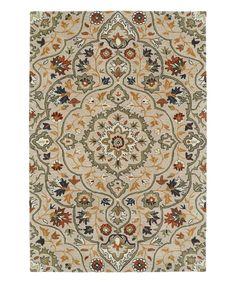 Look at this #zulilyfind! Mushroom Floral Quatrefoil Middleton Wool Rug by Kaleen #zulilyfinds