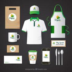 Identidad corporativa para restaurante de comida orgánica Vector Gratis