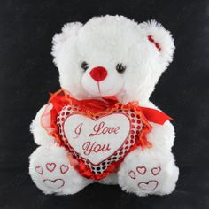 """Valentine's WHITE Soft Plush Stuffed Teddy Bear Toy Gift with """"I LOVE YOU"""" Heart"""