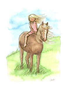 Horse Girl - Girls and horses just go together. You can feel the love between this little girl and her horse. This art print was featured in Horse & Rider magazine's 2014 holiday gift guide. These art prints make unique baby shower gifts that can be personalized with the baby's name or date of birth or both! This print is from an original watercolor illustration and is lovingly signed by the artist, Phyllis Harris.
