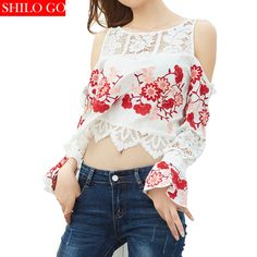 Free shipping 2016 new autumn fashion women high quality embroidery carved hollow petal sleeve lace sexy strapless short shirt