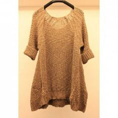 $13.43 Fashionable Style Asymmetrical Solid Color 3/4 Sleeve Sweater For Women