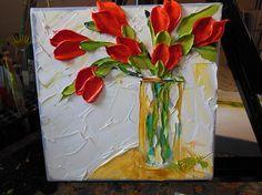 Arte de la pintura de naturaleza muerta, pintura empaste    Pintado sobre lienzo de Galería envuelta de borde ancho 8 x 8 en la técnica del óleo impasto con pincel y espátula, la pintura dan ganas de llegar y tocar.    Flores de color rojos están intenso, apasionado, dinámico y peligroso! Son magníficos e impulsivo, invitando a la acción rápida, la diversión veces y aceleración de pulso excitación. Flores de color rojos son perfectos si quieres seducir a alguien. Mayoría de la gente sabe que…