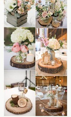 Wood slices, rounds, planks – BarnYard Bride - New Sites Wedding Centerpieces Mason Jars, Rustic Wedding Centerpieces, Wedding Table Centerpieces, Floral Centerpieces, Wedding Decorations, Tree Stump Centerpiece, Wood Slab Centerpiece, Used Wedding Decor, Shabby Chic Centerpieces