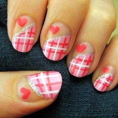 Valentine's plaid - just do the ring finger all plaid and the rest all pink.