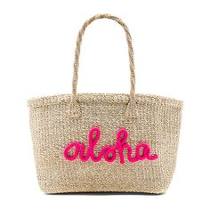 KAYU x REVOLVE Aloha Tote Bag found on Polyvore featuring bags, handbags, tote bags, handbags totes, white purse, woven tote bags, woven straw tote and tote purses