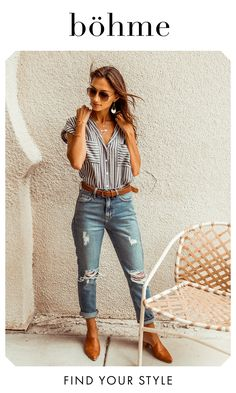 Shop Back to School Looks Outfits Jeans, Boho Outfits, Fall Outfits, Summer Outfits, Cute Outfits, Fashion Outfits, Spring Summer Fashion, Autumn Fashion, Business Casual Outfits