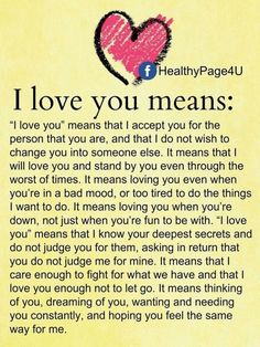 This is exactly what I believe love is and should be....