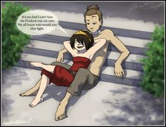 Toph and Sokka. For some reason, this entertains me. And for some other reason I want this to actually happen.
