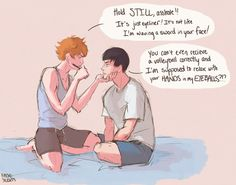 My art I DIE genderfluid kageyama tobio hinata shouyou Haikyuu!! kagehina I need to make more genderfluid kags eicinic you were instrumental in the creation of this I need to draw about the logistics of playing volleyball in a skirt