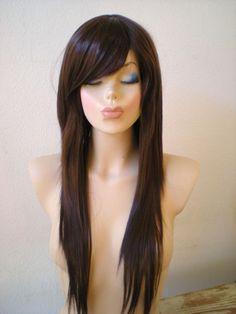 Chocolate Brown wig Brown wig Long straight hair Side bangs kUknaqNp