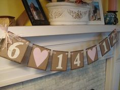Wedding Date Bridal Shower Decorations Engagement Photo Prop Wedding Date Banner You Pick the Colors.
