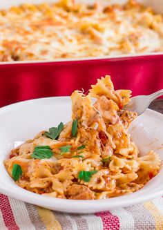 Cheesy Chicken Pasta Bake | Jo Cooks - Very good but a little goes a LOOOOOONG way. So after the initial dinner take the leftovers and put it in containers for lunches and/or personal dinners.