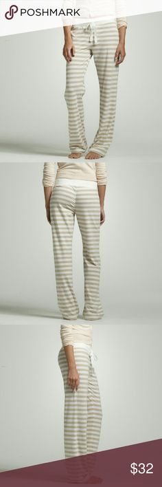 J. Crew Stripe dreamy cotton pant Super duper comfortable and stylish!  Great material. Great condition except what you see on pic 4 which is a very tiny small hole which I have no idea how it got there. J. Crew Intimates & Sleepwear Pajamas