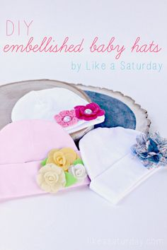 DIY Embellished Headbands - Like a Saturday guests posts at Someday Crafts, #flowers #headbands #baby #embellish