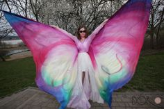 Belly dance rainbow hand painted silk wings. Made to order - multicolored, ombre, pattern. Unique handmade wings in your colors by PracowniaDor on Etsy