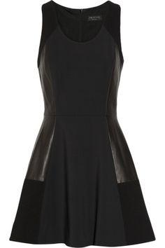 Rag & bone|Montrose leather-paneled stretch-crepe dress|NET-A-PORTER.COM