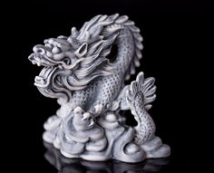 Dragon Marble Statue Figurine Animal Fantasy Russian Art Handmade Mythical Reptile Statuette For Home Decor, Fire-breathing Animal
