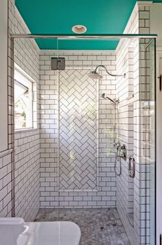 Love the B&W bath with POP ceiling!!  House of Turquoise: Dave Fox Design Build Remodelers