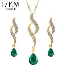 17KM Brand Design Crystal Water Pattern Pendant Necklace Long Earrings Zircon Elegant Cute Bridal Wedding Jewelry Sets For Women