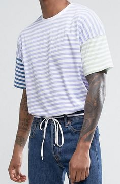 ASOS Oversized T-Shirt With Contrast Pastel Stripe   from ASOS (men, style, fashion, clothing, shopping, recommendations, stylish, menswear, male, streetstyle, inspo, outfit, fall, winter, spring, summer, personal)