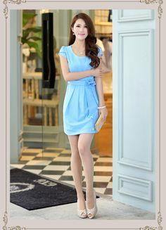 Short, Sleeve, Chiffon, Dress, Gathered, Waist, Bow, YRB0261, Asian Style, Korean Fashion, Lucky Charm, Sky Blue, Pink,