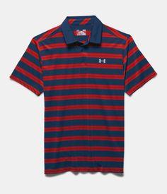 Men's UA Groove Stripe Polo, BLACKOUT NAVY, Laydown