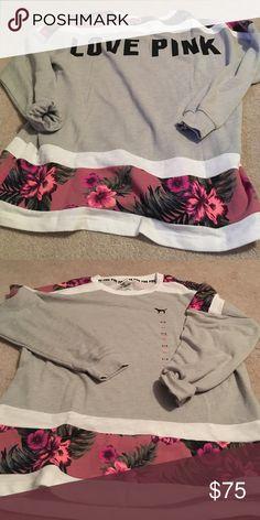 Pink baggy crew Super soft baggy comfy crew brand new! New fall print PINK Victoria's Secret Tops Sweatshirts & Hoodies