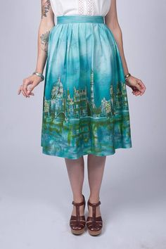 Vintage 1950's Teal Green London Print Skirt / 50s Border