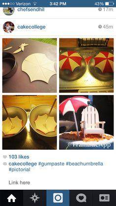 Gumpaste fondant beach umbrella how to Mais Fondant Cookies, Fondant Toppers, Fun Cookies, Cupcake Cakes, Cupcakes, Pool Cake, Beach Cakes, Summer Cakes, Fondant Decorations