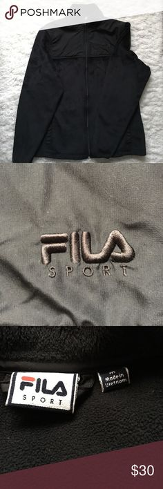 Black Fila Sport Jacket Conquer cool weather with this women's FILA SPORT jacket. Soft fleece material ensures comfort and warmth.  Barely Used.   PRODUCT FEATURES Perfect for medium-impact exercise Full-zip front Long sleeves 2-pocket Fila Jackets & Coats